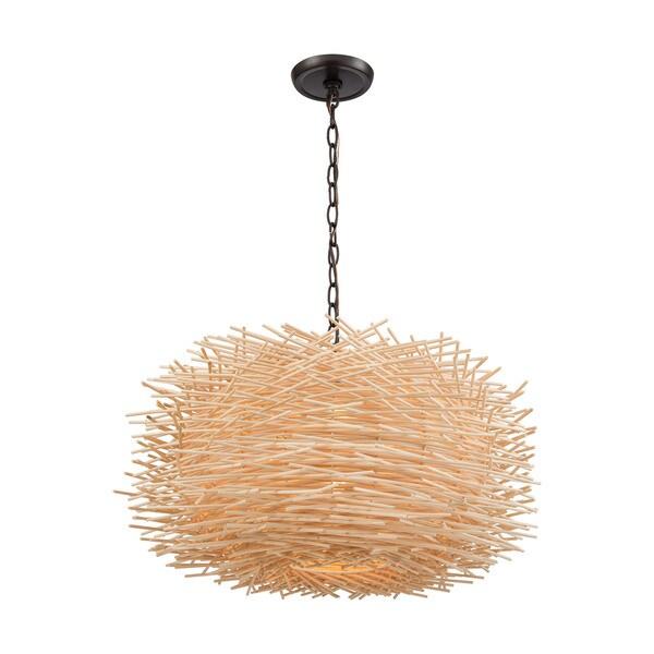 Bamboo 3-Light Nest Pendant, Oil Rubbed Bronze
