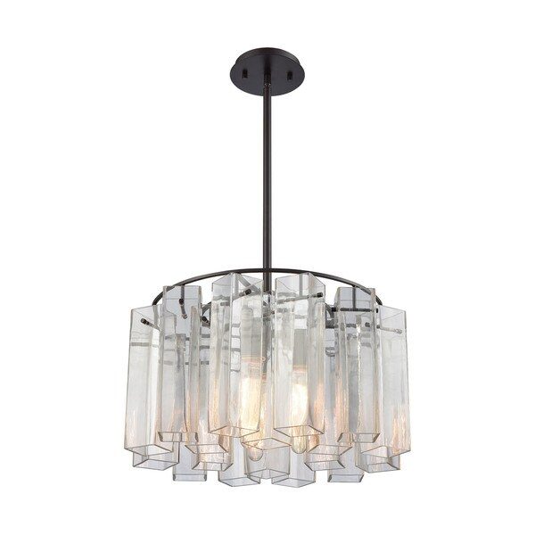 Cubic Glass 3-Light Pendant, Oil Rubbed Bronze