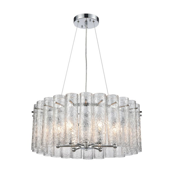 Glass Symphony 6-Light Pendant, Polished Chrome