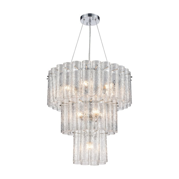 Glass Symphony 11-Light Pendant, Polished Chrome