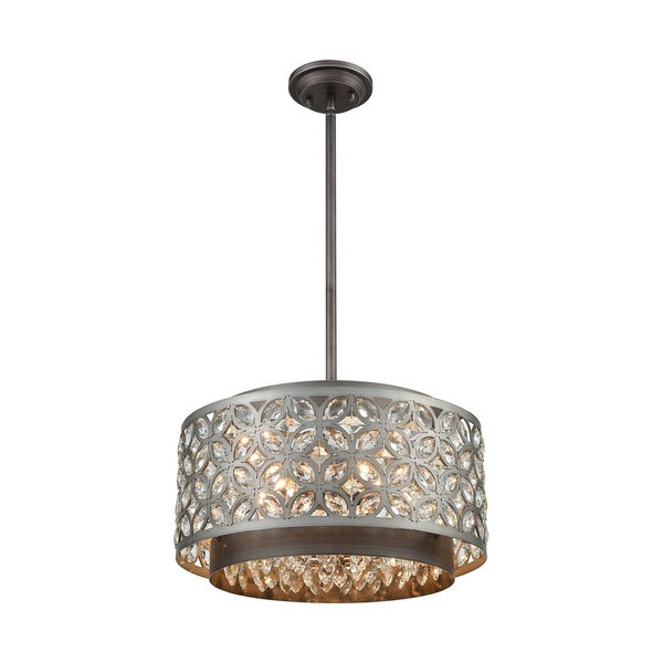 Rosslyn 5-Light Pendant, Weathered Zinc/Matte Silver