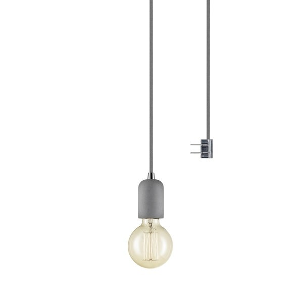 Virginia 1-Light Plug-In or Hardwire Concrete Mini Pendant, 15' Gray Woven Fabric Cord, In-Line On/Off Switch, Bulb Included