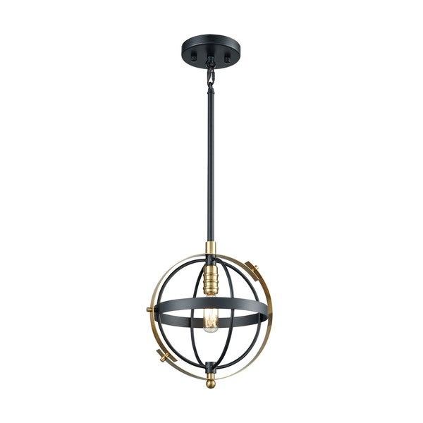 Caldwell 1-Light Pendant, Matte Black/Satin Brass