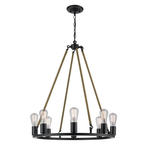 Myrcella 8-Light Twine Wrapped Round Vintage Chandelier, Oil Rubbed Bronze Finish