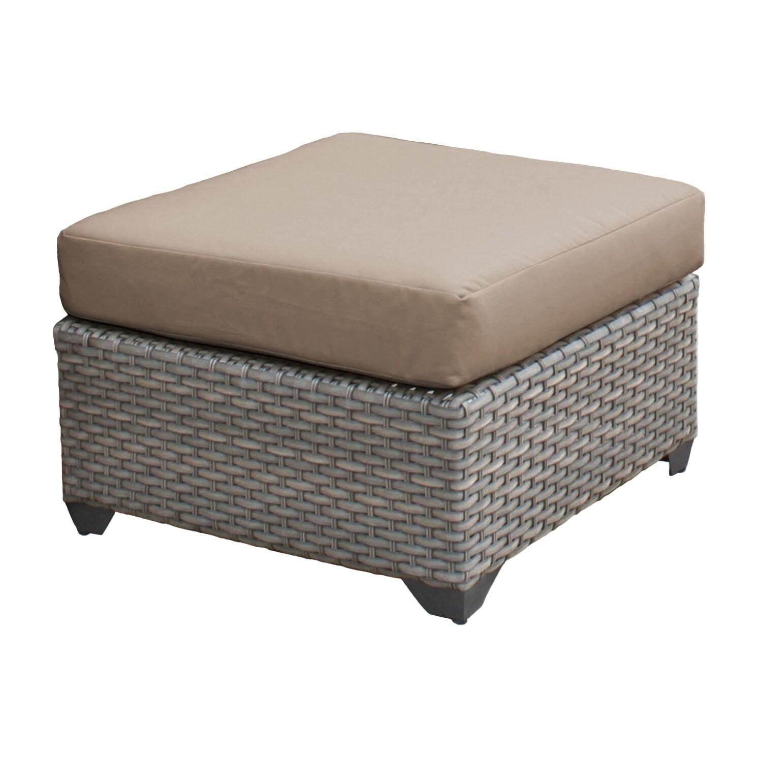 Kinbor Wicker Ottoman Seat 2 Piece Outdoor Footrest Ottoman With Dark Grey Cushions Ottomans
