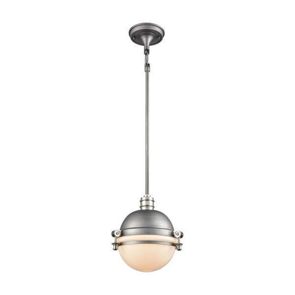 Riley 1-Light Pendant, Weathered Zinc/Polished Nickel