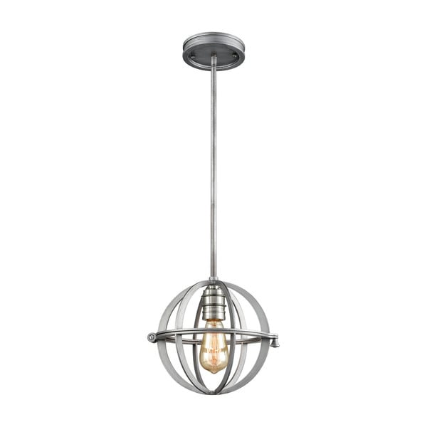 Aubridge 1-Light Pendant, Weathered Zinc/Polished Nickel
