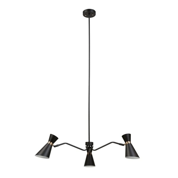 Belmont 3-Light Chandelier, Black Color, Satin Finish, Gold Accents