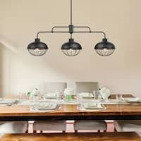 Elior 3-Light Industrial Caged Pendant, Oil Rubbed Bronze Finish