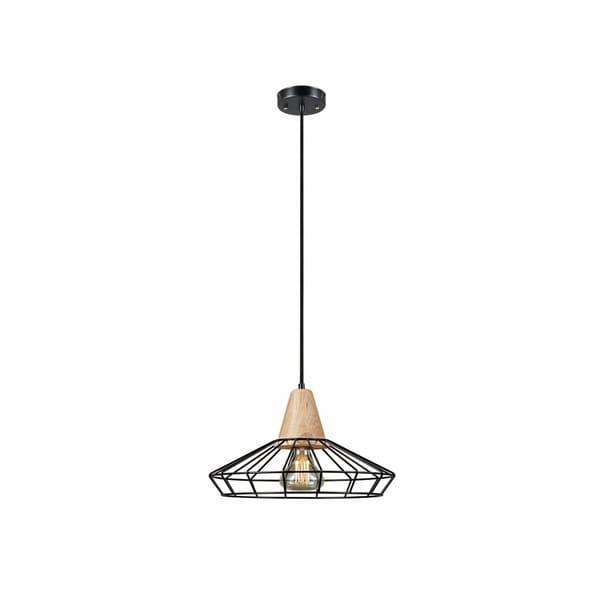 Loras 1-Light Caged Pendant, Black Finish, Wood Accent