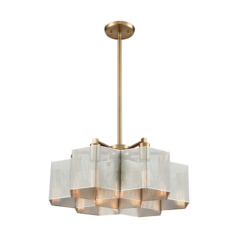 Compartir 7-Light Pendant, Polished Nickel/Satin Brass