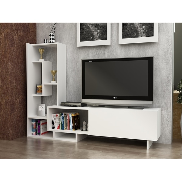 Decorotika Pegai White Wood 60 Inch Tv Stand With Bookshelves