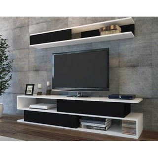 "Decorotika Sims 71"" TV Media Stand with Wall Shelves"