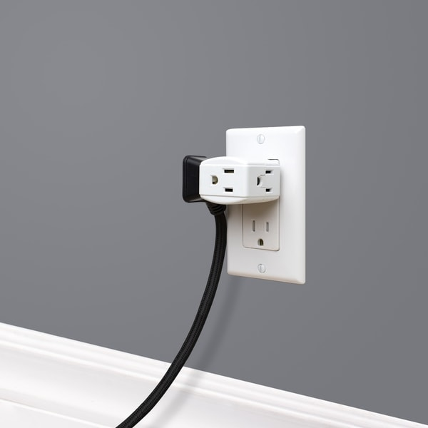 3-Outlet Grounded Cube Wall Tap, White Finish. Opens flyout.