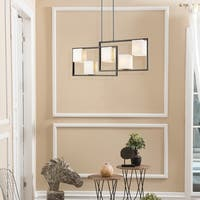 Eglo Regis Falls 5-Light Pendant with Black and Brushed Nickel Finish and Opal Glass