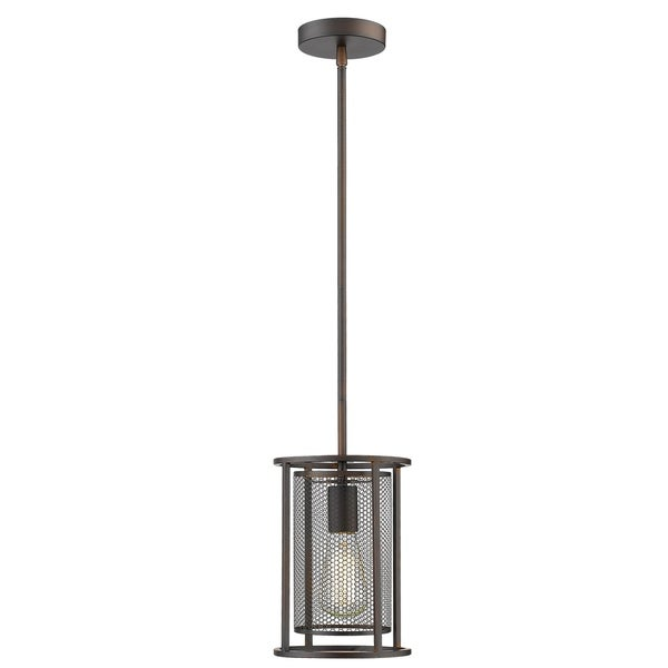 Eglo Verona 1-Light Mini Pendant with Oil Rubbed Bronze Finish and Metal Cage Shade