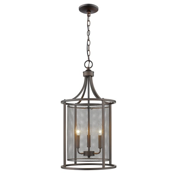 Eglo Verona 3-Light Pendant with Oil Rubbed Bronze Finish and Metal Cage Shade