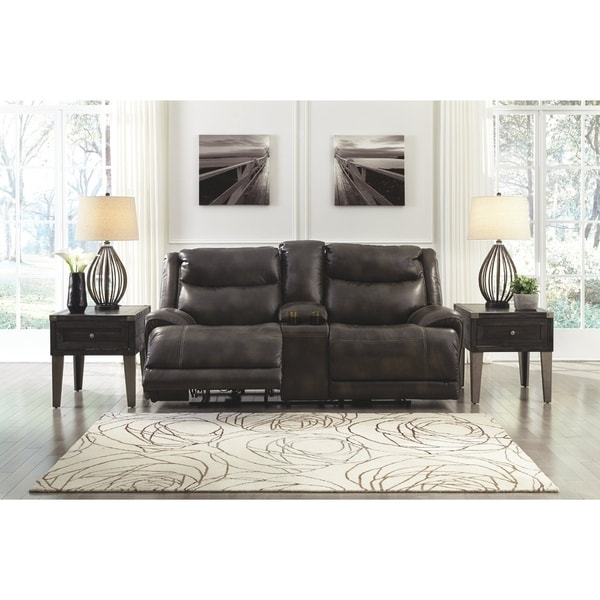 Magnificent Benchcraft Gray Brinlack Power Reclining Loveseat W Console N A Alphanode Cool Chair Designs And Ideas Alphanodeonline