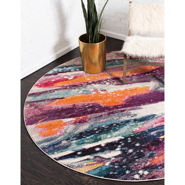 Unique Loom Majestic Spectrum Round Rug - 8' 0 x 8' 0