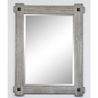 """28"""" Rustic Wood Framed Mirror in Grey-Driftwood Finish - wk8228m-gr"""
