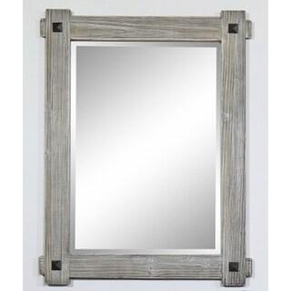 """28"""" Rustic Wood Framed Mirror in Grey-Driftwood Finish - wk8228m-gr - N/A"""