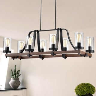 Guntel Forged Black Metal 8-Light Chandelier with Glass Pillar Shades
