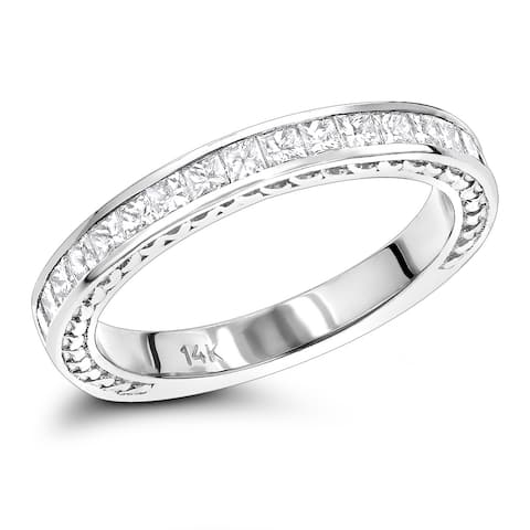 Ladies Gold Designer Diamond Wedding Band 14K Princess cut Diamonds 0.7ctw by Luxurman