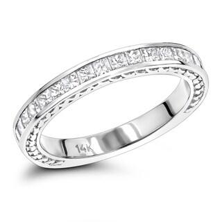 Ladies Gold Designer Diamond Wedding Band 14K Princess cut Diamonds 0.7ctw by Luxurman