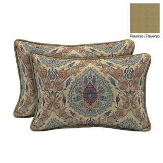 Bombay® Outdoors Tivoli Damask Outdoor Welted Lumbar Pillow 2-Pack
