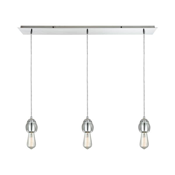 Socketholder 3-Light Linear Pan Pendant, Polished Chrome