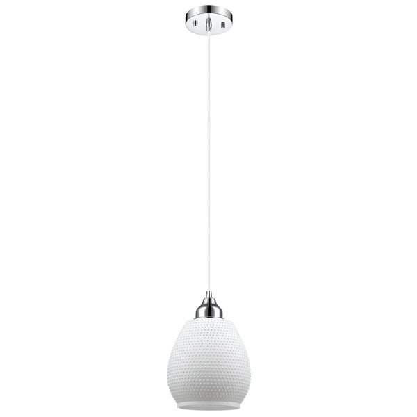 Snow 1-Light Pendant, Matte White Finish Textured Glass Shade, Chrome Detail