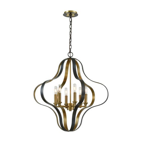 Janis 6-Light Pendant, Aged Bronze/Aged Brass
