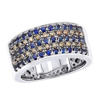 Unique Rings 10K Gold Blue Sapphire Brown Diamond Wedding Band for Men 0.8ctw by Luxurman