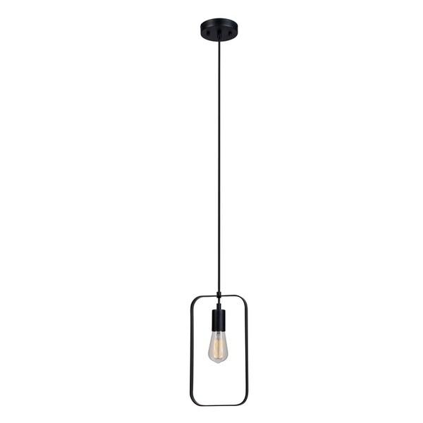 Finnley 1-Light Pendant, Matte Black Finish, Black Cord