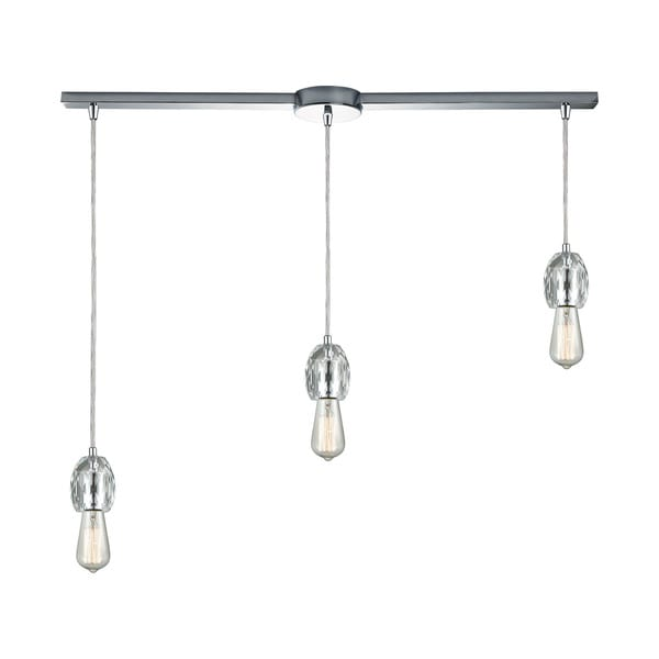 Socketholder 3-Light Linear Bar Pendant, Polished Chrome