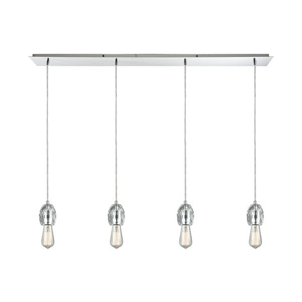 Socketholder 4-Light Linear Pan Pendant, Polished Chrome