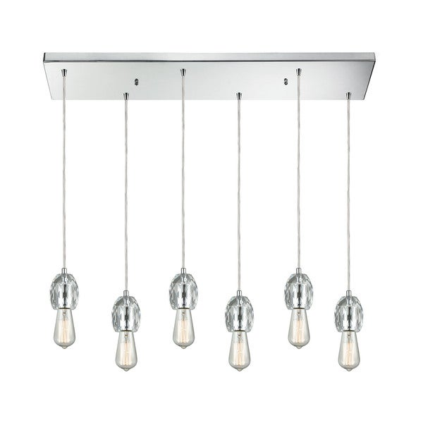 Socketholder 6-Light Rectangular Pan Pendant, Polished Chrome