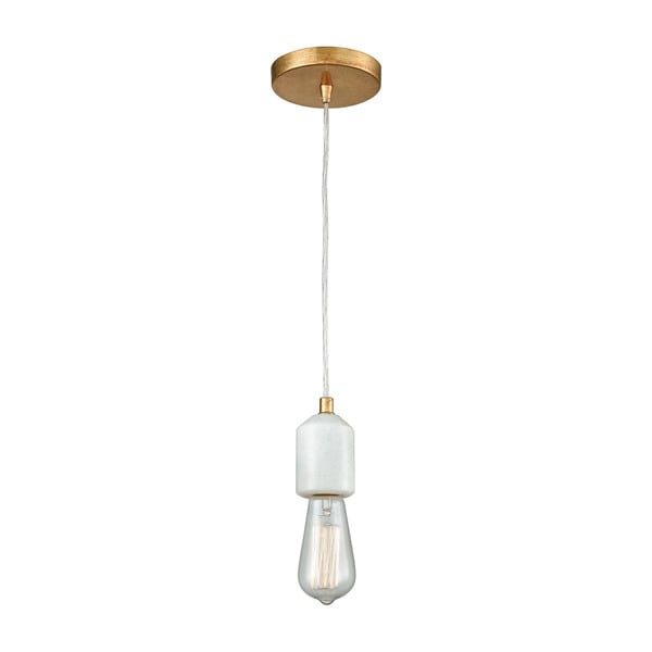 Socketholder 1-Light Pendant, Antique Gold Leaf