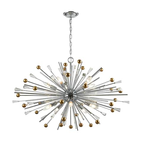Williston 10-Light Pendant, Polished Chrome/Satin Brass