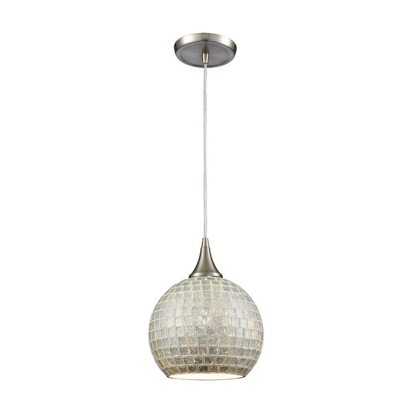 Fusion 1-Light Silver Glass Pendant, Satin Nickel