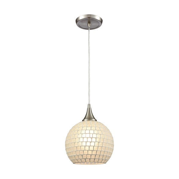 Fusion 1-Light White Glass Pendant, Satin Nickel