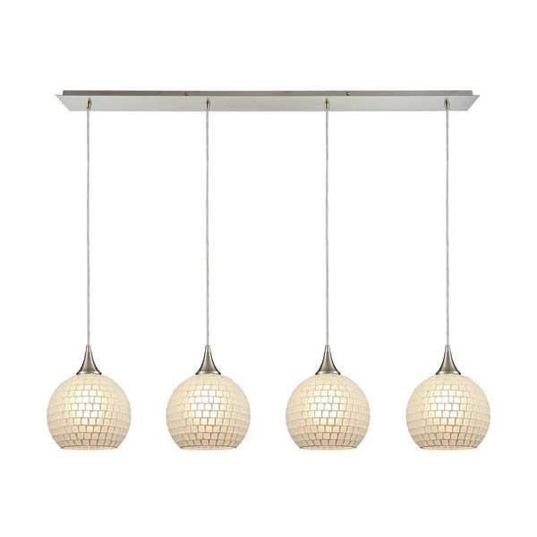 Fusion 4-Light White Glass Linear Pan Pendant, Satin Nickel