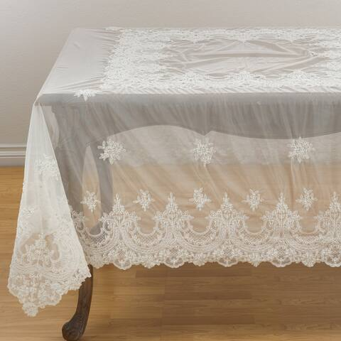 Embroidered Floral Lace Beaded Antique Tablecloth