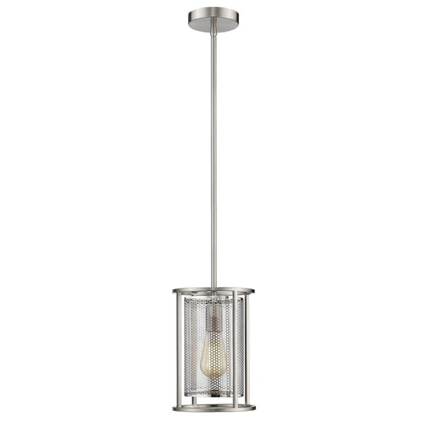 Eglo Verona 1-Light Mini Pendant with Brushed Nickel Finish and Metal Cage Shade