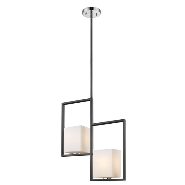 Eglo Regis Falls 2-Light Pendant with Black and Brushed Nickel Finish and Opal Glass