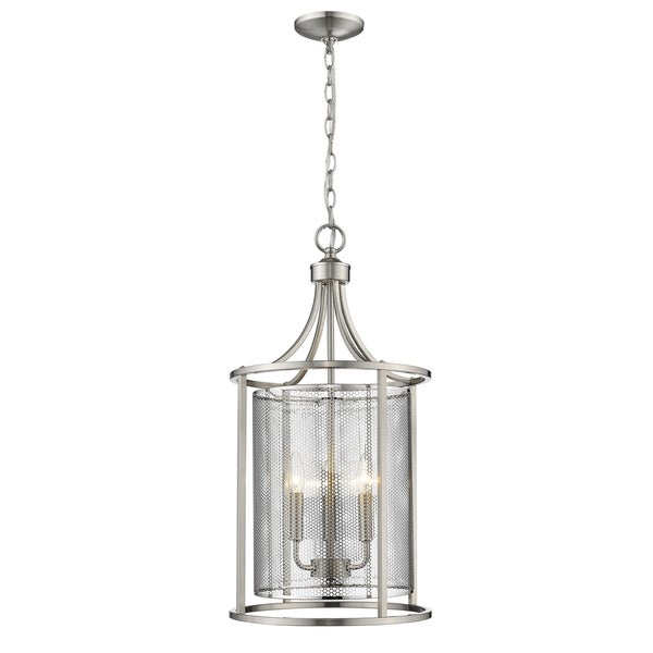 Eglo Verona 3-Light Pendant with Bushed Nickel Finish and Metal Cage Shade