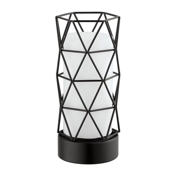 Eglo Table Lamp with Matte Black Finish and White Glass
