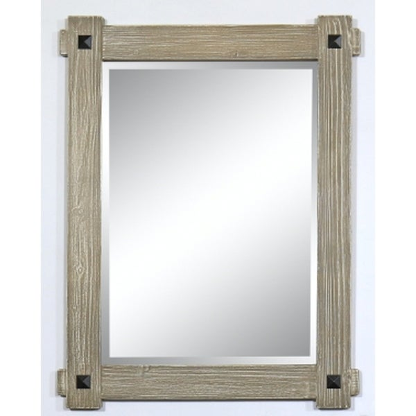 "28"" Rustic Wood Framed Mirror in Driftwood Finish - wk8228 - A/N"