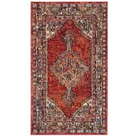 Safavieh Savannah Bohemian & Eclectic Red / Red Polyester Rug - 4' x 6'