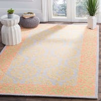 Safavieh Hand-Hooked Suzani Bohemian & Eclectic Orange / Silver Wool Rug - 3' x 5'